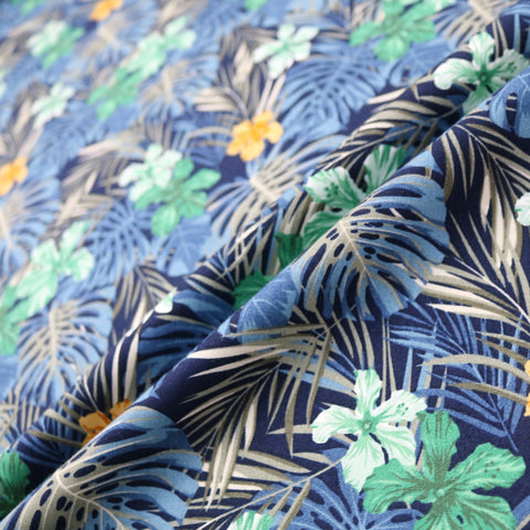 Tropical Palms & Flowers Print Cotton - Blues