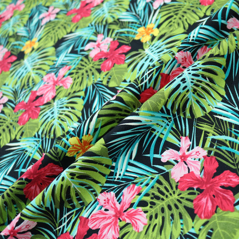 Tropical Palms & Flowers Print Cotton - Multicoloured