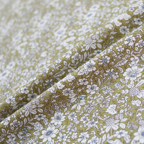Autumn Flowers Cotton- Olive