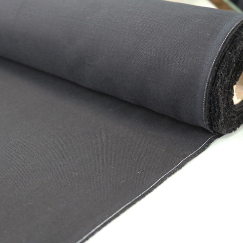 Brushed Panama Weave Plain - Black