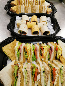 10 - Regular, classic sandwiches, wraps, savouries, crisps, fruit platter and cake