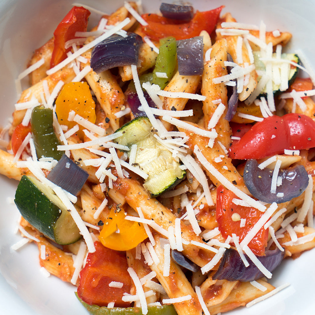 Tomato Pasta with Roast Vegetables and Parmesan Cheese