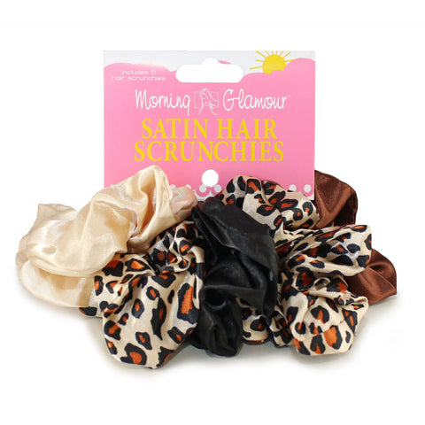 Morning Glamour Satin Hair Scrunchies 5 Pack Black
