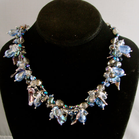 Blue Pearl crystal necklace
