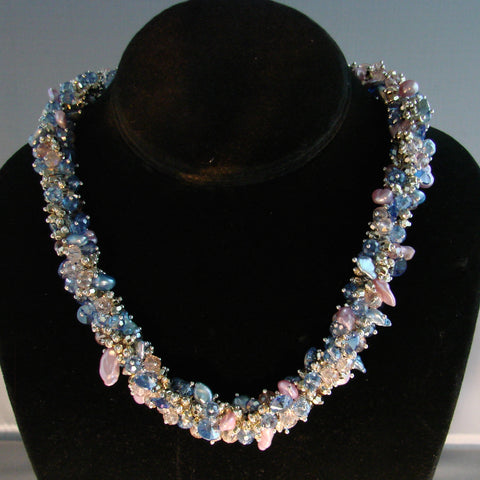 Bluewater pearl crystal necklace