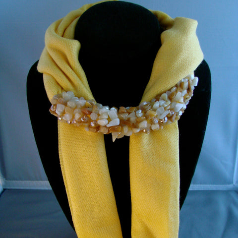 Yellow scarf with Pearls