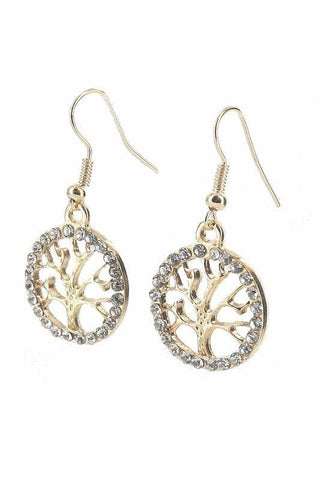 Rhinestone Tree of Life Dangle Earring
