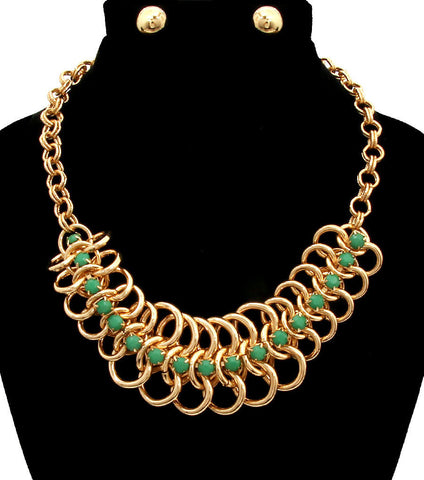 Stone Chain Layered Necklace Set