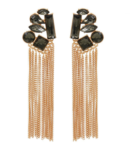 Stone Tassel Drop Earrings Para Ti