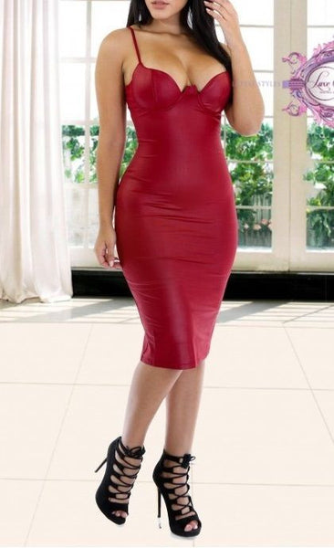 Sexy Red Form Fitting Midi Dress