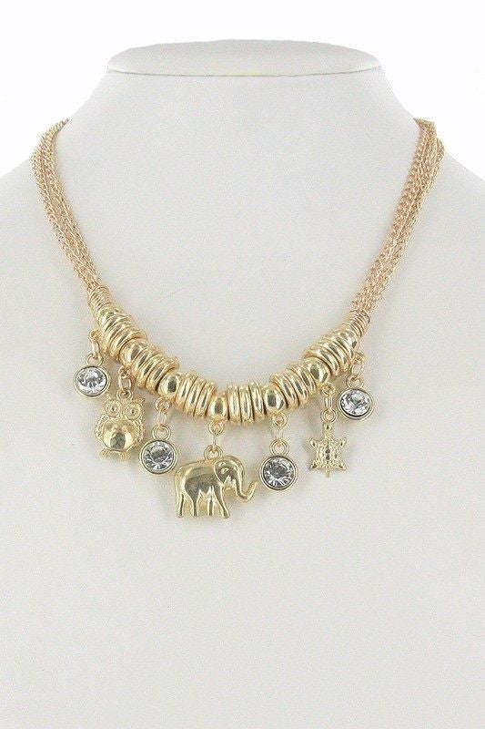 Elephant Owl and Turtle Multi Charm Necklace