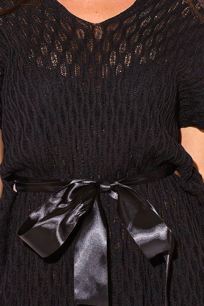 Black Ribbon Sweater Top