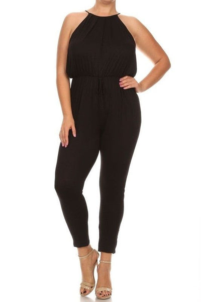 Black Cinched Waist Jumpsuit