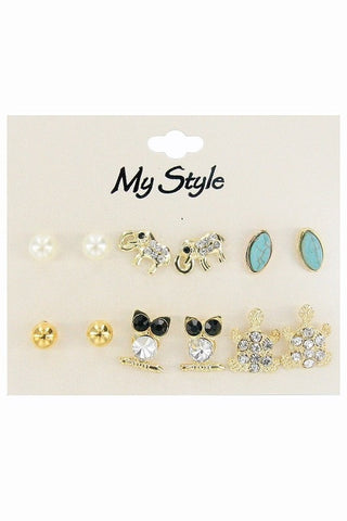 6 pairs Multi Stud Earring Set