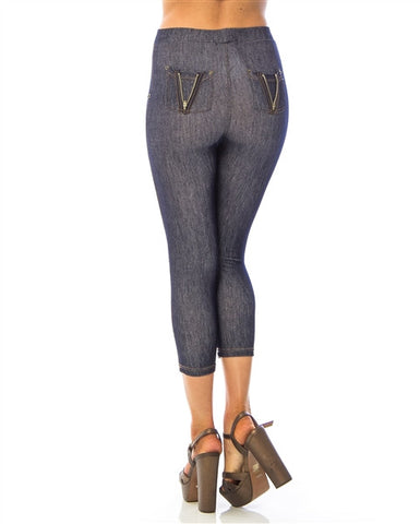 Blue Denim Pattern Leggings
