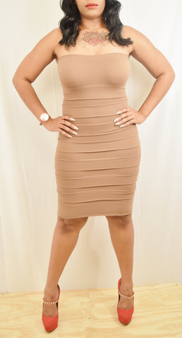 Brown Tiered Stretch Bandage Dress