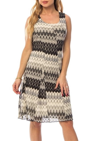 Gray Scale Print Fit and Flare Dress