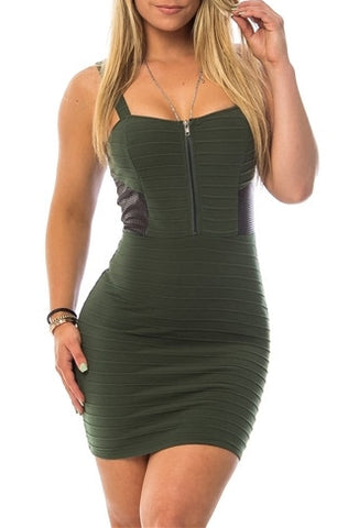Olive Faux Leather Contrast Zipper Dress