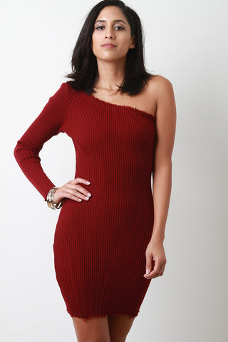 One Shoulder Ribbed Knit Raw Cut Mini Dress