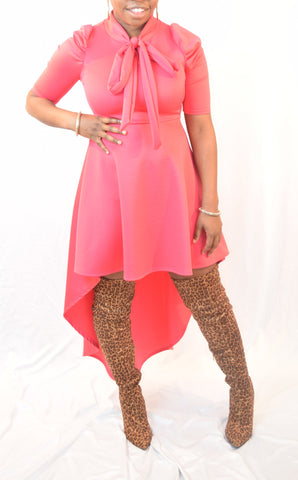 Pink High Low Bow Tie Neck Dress