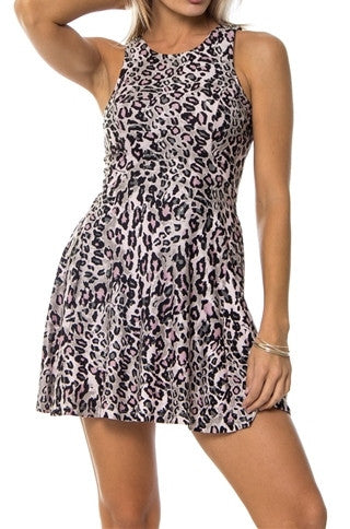 Pink Cheetah Print Cross Back Skater Dress