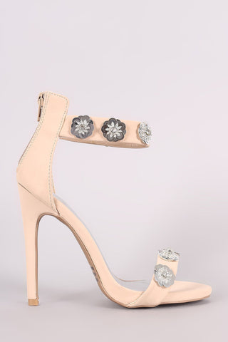 Pink Floral Applique Ankle Strap Stiletto Heel