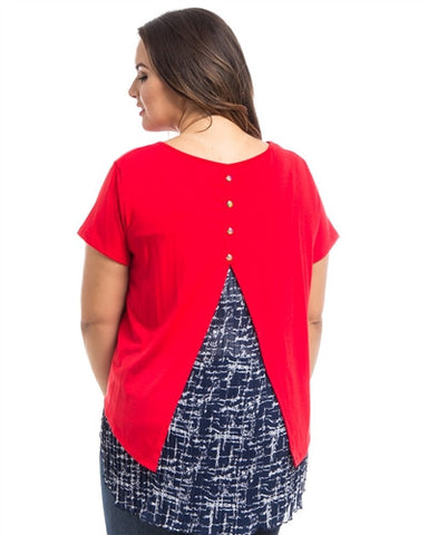 Red HiLo Pleated Back Contrast Plus Size Top
