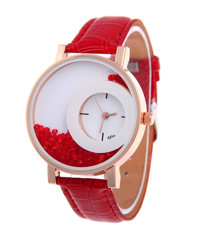 Red Synthetic Leather Strap Analog Quartz Wristwatch