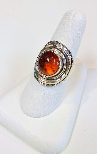 Amber Silver-Nested Ring