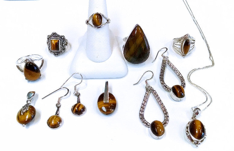 Tiger's Eye Oval Earrings with Small Oval Stone