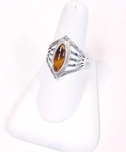 Tiger's Eye Marquise Cut Ring