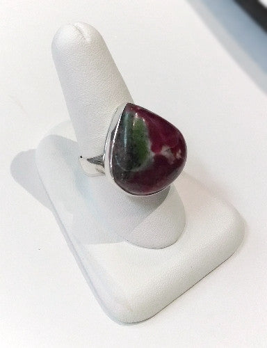 Ruby-Zoisite Tear Drop Ring