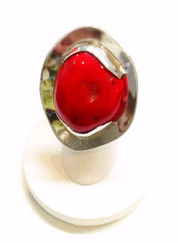 Red Coral Framed Ring