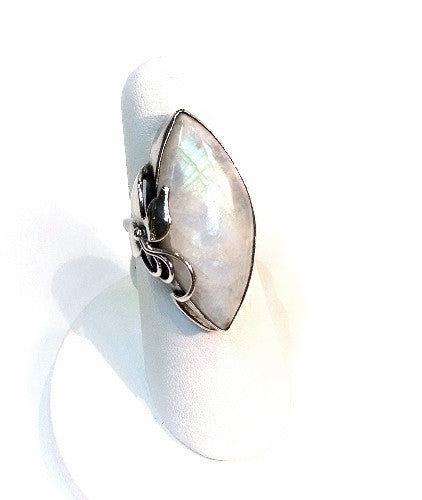 Moonstone Marquis Ring W/ Calla Lilly Leaf