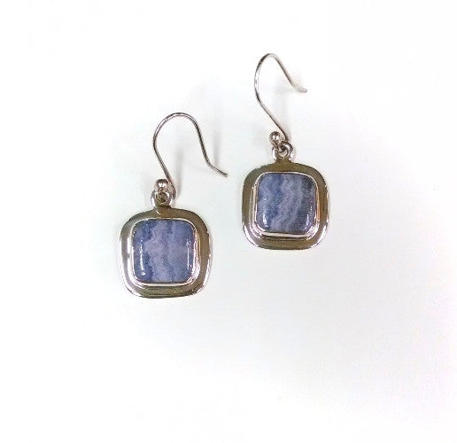 Blue Lace Agate Square Earrings