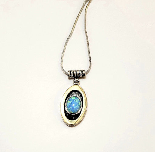 Opal, Gold and Sterling Pendant and Necklace