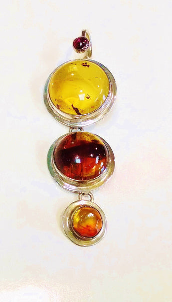 Sterling Silver Amber 3-Tier Pendant