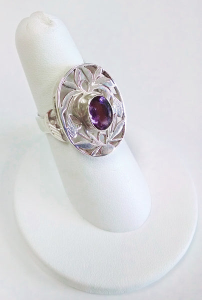 Amethyst Filigree Silver Ring