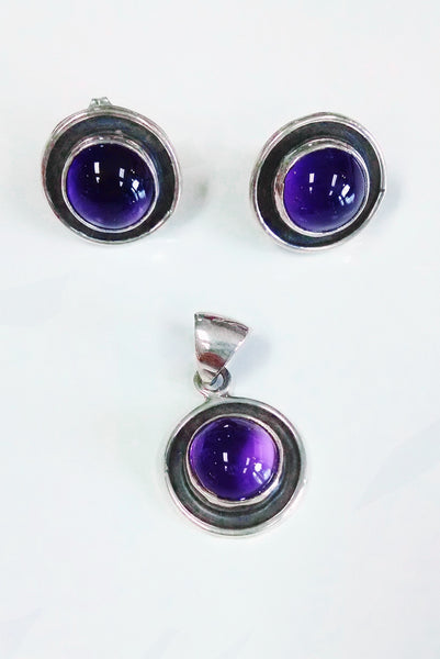 Amethyst Burnished Silver Set