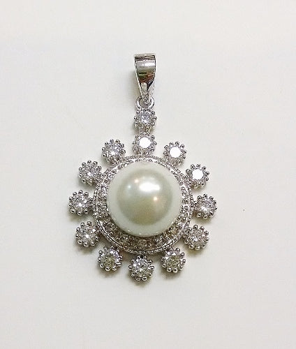 Pearl and CZ Sunburst Pendant