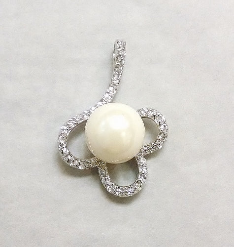 Pearl and CZ Clover Pendant