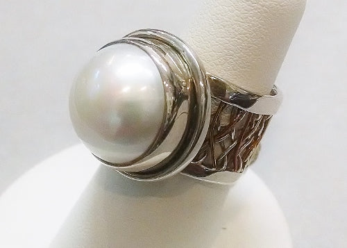 Pearl Ring with Wide Woven Band