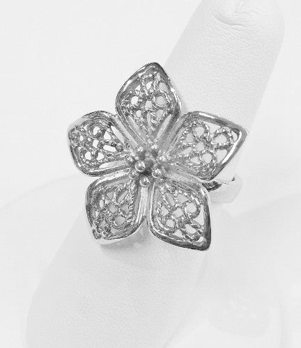 Sterling Silver Ring With Filigree Flower