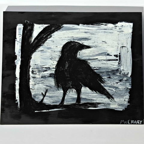 raven in tree painting