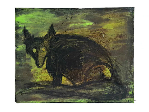 green and black mixed media painting