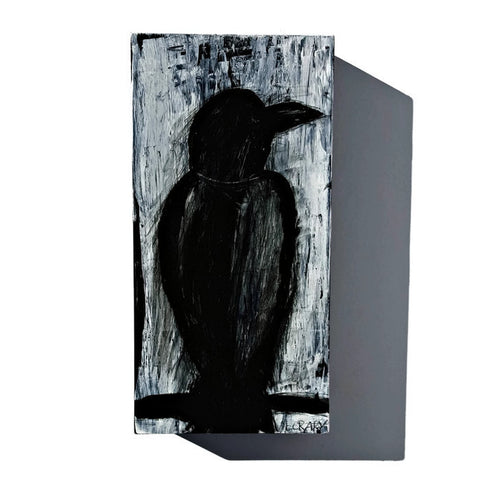 black and white mixed media crow art