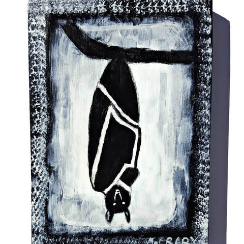 hanging bat acrylic painting