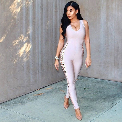 Make up blogger Amrezy Jumpsuit, Amrezy Style, Amrezy wearing sexy lace up jumpsuit