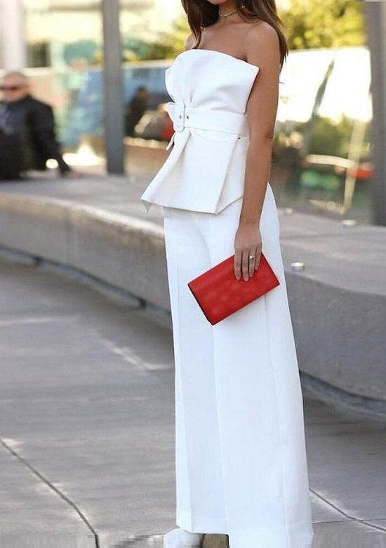 Rita Elegant Off Shoulders White two piece Outfit