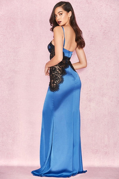 Alamy SAPPHIRE BLUE & BLACK SATIN LACE MAXI DRESS